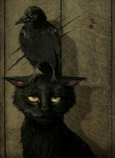Pinterest Arte, The Raven, Raven Art, Crow Art, Illustration Art, Illustrations, Arte Obscura, Crows Ravens, Halloween Art
