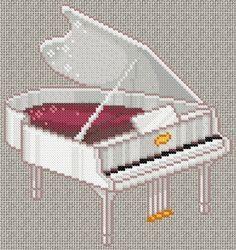 02/01/2013 : Grille de point de croix gratuite - Piano blanc