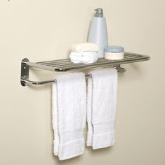 Zenith E9005SS Hotel Style Towel Shelf and Towel Bar | from hayneedle.com