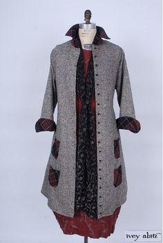 Limited Edition Phinneus Coat Dress in Melange Irish Wool with Bordeaux Scottish Plaid. Fall Winter 2015-16 Look No. 34 | Elegant Women's Clothing - Ivey Abitz