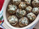 Spinach and spicy sausage stuffed mushrooms