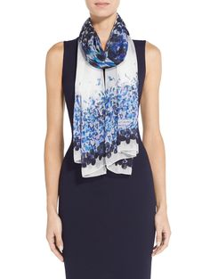 John Silk Georgette Scarf features a beautiful blue jasmine floral print with feminine accent. Floral Fashion, Jasmine, Classic Style, Floral Prints, Feminine, Silk, Tank Tops, Blue, Beautiful