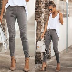 Here is Jeggings Outfit Ideas Pictures for you. Jeggings Outfit Ideas 6 ways to style jeggings with tops the good look book. Moda Outfits, Jean Outfits, Fall Outfits, Summer Outfits, Casual Outfits, Cute Outfits, Fashion Outfits, Outfits With Gray Jeans, Cheap Fashion
