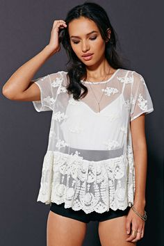 e226acbb5f4dd NWOT UO lace peplum shirt Sadly reposhing because it doesn t fit me  absolutely stunning shirt. Would fit medium-large. Never been worn Urban  Outfitters Tops ...