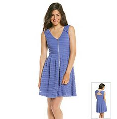 Dresses. Feminine and flirty, this full-skirted dress from Guess features an exposed zipper down the front, sassy back cutout and allover lace. Featured in hyacinth V-neck Sleeveless Exposed front zipper Allover lace Ruched sides Full skirt Cutout back detail Lined Polyester/cotton/spandex Imported