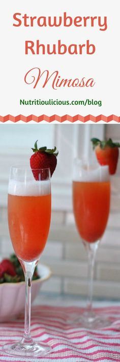 ... mimosa cocktail made with strawberries and rhubarb. @jlevinsonRD