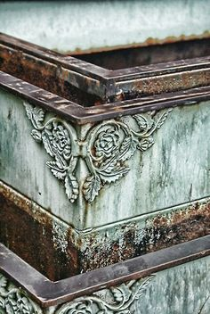 Planters for the Garden.  To get a genuine verdi finish..Take a brass or copper tray, fill with 1/2 vinegar plus 1/2 hydrogen peroxide, add 2 tbsp. salt.  Within 3 days a layer of Verdi will form.  Just paint this on rust.  Patti Montgomery.  You can use it as a stain on wood also.