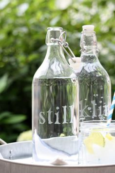 DIY Etched Glass Water Bottles | Shelterness