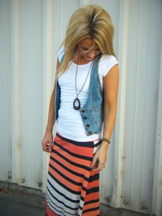 maxi skirt, white T, jean vest: super cute. I love that fashion is finally becoming applicable to tall people!