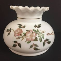 Your place to buy and sell all things handmade Painted Leaves, Hand Painted, Milk Glass Lamp, Rustic Lamp Shades, Paper Lampshade, Paint Line, Gold Line, Glass Replacement, Gone With The Wind