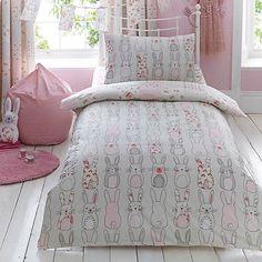 Katy Rabbit Duvet Cover and Pillowcase Set | Dunelm Rustic Bedding, Linen Bedding, Bed Linens, Grey Comforter, Linen Pillows, Ruffle Bedding, Kids Pillows, White Pillows, Bedding Sets Online