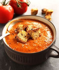 Healing Roasted Tomato and Red Pepper Soup - creamy, soul warming soup that's bursting with sweet tomatoes, garlic, onion, and roasted red peppers! This recipe is easy to make and healthy! We LOVE this soup for fall and winter! Vegan/gluten free | robustrecipes.com