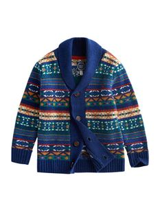 Joules null Boys Knitted Button Front Jumper, Navy.                     Bursting with Fair Isle style, this cosy shawl neck cardigan is one of the most stylish ways to keep warm this season. Crafted with luxurious lambswool for warmth on the coldest of days and finished with oversized buttons to shut out the cold once and for all. #joules #christmas #wishlist