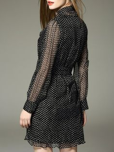 Black Silk Long Sleeve Printed Polka Dots Mini Dress 3690ff885a4