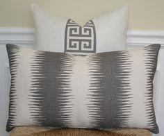 Decorative Pillow Cover -Gray and off white textural ikat print lumbar pillow cover -12 x 20