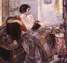 """RICHARD EDWARD MILLER (1875-1943) : signed Miller, l.l. oil on canvas Painted circa mid-1920s. Mary Louise Kane writes, """"By the time Miller painted this canvas, probably in the mid-1920s, he was well established as one of the artistic luminaries, indeed one of the first wave of artists, who had turned Provincetown, Massachusetts into a leading art colony on the East coast."""