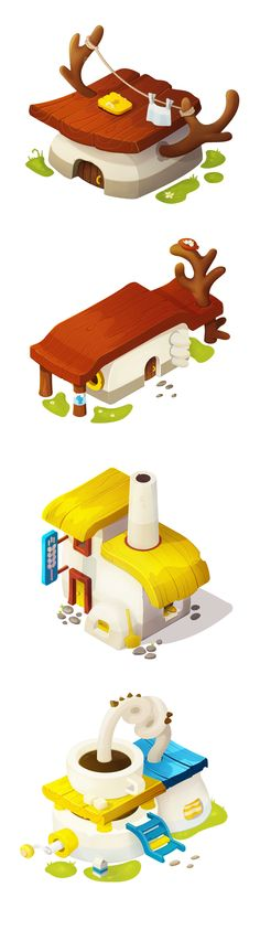 isometric buildings design for mobile games: farm houses, bakery, coffee shop