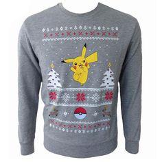 Pokemon Pikachu Grey Christmas Jumper