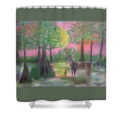 Shower Curtains With Folk Art by Cajun Creole Folk Artist Seaux N. Seau Soileau.  This deer in a cypress swamp was painted for an auction here in Acadiana. Many people in Acadiana hunt and couples often look for images pretty enough for a lady's bathroom yet masculine enough for a man's.  I painted this in response to such pleas.