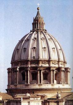 MIGUEL ÁNGEL y GIACOMO DELLA PORTA: Cúpula de San Pedro del Vaticano. A partir del proyecto de Miguel Ángel, Della Porta ejecuta una cúpula ligeramente apuntada y no semiesférica.