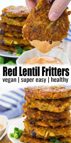 Red Lentil Fritters : These potato fritters with red lentils are super easy to make and so delicious! They're best with spicy sriracha mayonnaise. Find more vegan dinner recipes at Easy Vegan Dinner, Vegan Dinner Recipes, Vegan Dinners, Red Lentil Recipes Easy, Healthy Recipes, Dinner Healthy, Curry Recipes, Beef Recipes, Easy Recipes