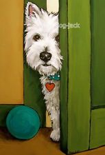 West Highland Terrier ACEO WESTIE PRINT Painting SNEAKING A PEEK Dog Art RANDALL