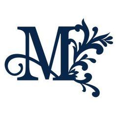 Silhouette Design Store: big flourish monogram - m