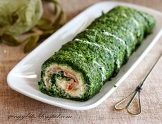 Spinach Roulade With Smoked Salmon' Makes One Roll With Eggs Yolks, Frozen Spinach, Nutmeg, Cream Cheese, Lemon Juice, Smoked Salmon