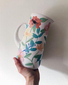 Jarron ceramica Hand Painted Pottery, Pottery Painting, Hand Painted Ceramics, Ceramic Painting, Diy Painting, Ceramic Art, Clay Pot Crafts, Diy Crafts, Color Me Mine