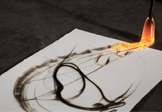 Molten glass pyrographs by Etsuko Ichikawa...from Spoon & Tamago - Japanese Art, Design & Culture