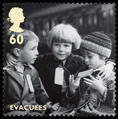 Royal Mail World War II Stamps - Picture of young children being evacuated, taken in 1941