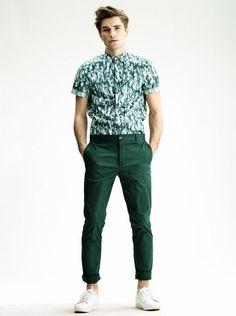 Zielone, długie spodnie męskie H&M / fot: H&M