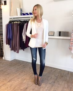 Primp Boutique, Primp Yourself, Wesley Uthus, shop local, Minneapolis, Minnesota, Woodbury, outfit of the day,Distressed denim, white blazer,