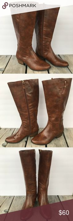 Dr. Scholls Tall Brown Boot Wide Calf Size 10 Dr. Scholls Tall Brown Boot Wide Calf Size 10  Wide Calf. 1.75 inch heel. Memory foam sole. Great condition. Man made material. Style:  Brilliance  Smoke free, pet free home. Reasonable offers accepted. Dr. Scholl's Shoes