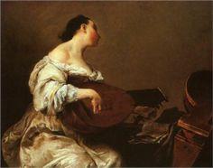 Woman with Lute - Giuseppe Maria Crespi