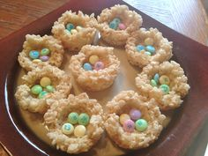 Rice Krispy nests & eggs maybe with some peeps or colored coconut mixed with the rice krispies