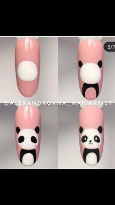 nails art paso a paso - Nail Art Hacks, Nail Art Diy, Easy Nail Art, Panda Nail Art, Animal Nail Art, Nail Art Designs Videos, Simple Nail Art Designs, Classy Nails, Simple Nails