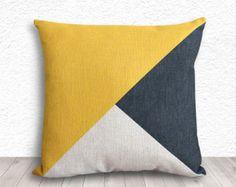 Coussins décoratifs géométriques coussins/couverture, géométrique taies d'oreiller, taies lin 18 x 18 - imprimé en couleur de blocage - 282