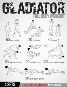 Gladiator Full Body Workout Plan - Healthy Fitness Tips Routine - Yeah We Train ! Full Body Workout Plan, Workout Plan For Beginners, Gym Workout Tips, At Home Workout Plan, Fitness Workouts, Workout Challenge, At Home Workouts, Workout Plans, Full Body Calisthenics Workout