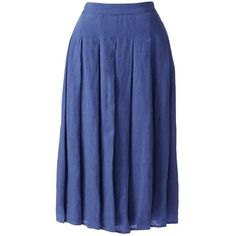 Lands' End Women's Petite Linen A-line Skirt ($69) ❤ liked on Polyvore featuring skirts, blue, knee length a line skirt, lands' end, a line skirt, linen skirt and blue linen skirt