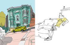 Olivier Kugler's Portfolio Daily Drawing, Line Drawing, Sketchbook Drawings, Perspective Drawing, Interesting Buildings, Urban Sketchers, Handmade Journals, Art Inspo, Fantasy Art