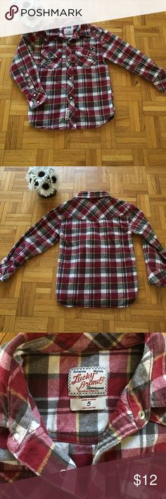 Boys Lucky Brand size 5 flannel shirt! In great condition!!! Awesome quality!!! Lucky Brand Shirts & Tops