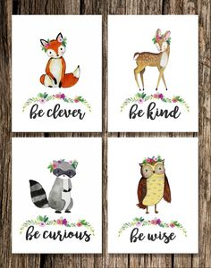 Woodland Animal Girl Nursery Decor Fox Deer by EmilyShayArt