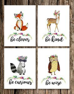 Woodland Animal Girl Nursery Decor Fox Deer by EmilyShayArt