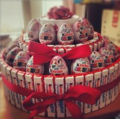 kinder chocolate joy kinder bar kinder surprise egg cake tower candy gift idea basket box valentines day birthday wedding present romantic romance love heart bow red