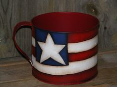 Americana Decor Handpainted Metal Can with Handle by theprimplace on Etsy
