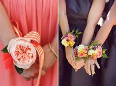 Romantic ribbon corsage..garden rose or garden mix on ribbon..$39 each. Free delivery in SW Portland