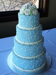 blue and pink wedding cake | something blue wedding cake srv 130 cost $ 650