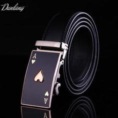 #FASHION #NEW Men's Genuine Leather Ratchet Belt Male Luxury Automatic Buckle Belts for Men 3.5cm Wide Poker Strap Jeans Fashion Gift