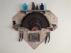 Weathered Grey panel with pink trim.  shown with turkey fan